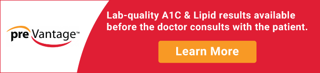 Lab-quality A1C & lipid results available before the doctor consults with the patient.